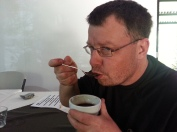 Being a Cupper (yes an actual title) tasting coffee right from the plantation.